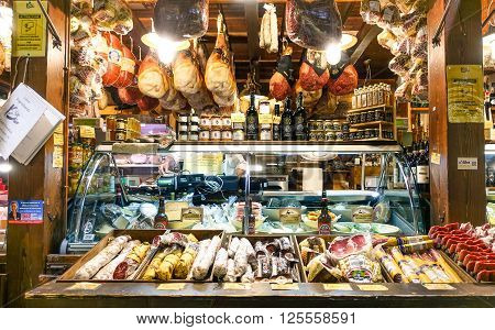 BOLOGNA ITALY - JANUARY 10 2016:Typical traditional Italian food in unidentified shop at Guglielmo Marconi Airport Bologna Italy. Italian food products are unique and famous all over the world