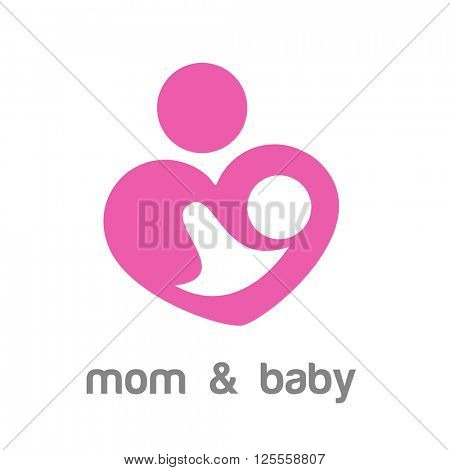 Mom and baby. Logo template. Mother's care sign. Symbol of parental love. Vector illustration. Icon mother and baby.