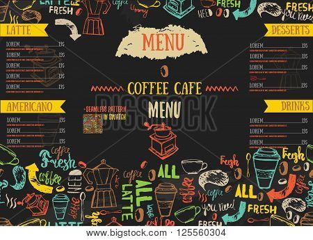 Vecor Bistro restaurant menu design with hand drawn lettering on dark color