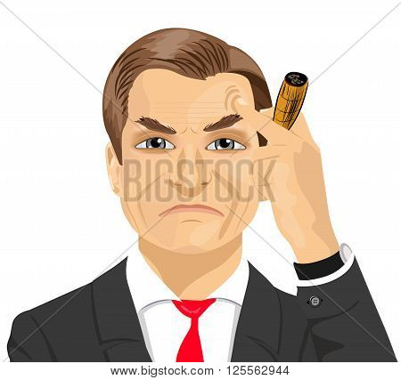 haughty mature businessman smoking cigar isolated on white background