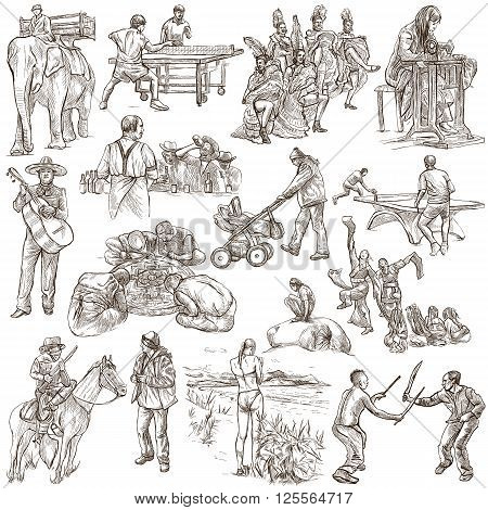 PEOPLE. Collection of an hand drawn illustrations. Description Full sized hand drawn illustrations - freehand sketches. Drawings on white background.