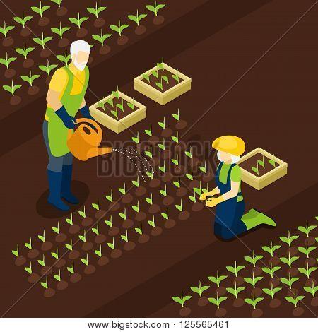 Retired green-fingered village resident farmer enjoy planting season vector illustration