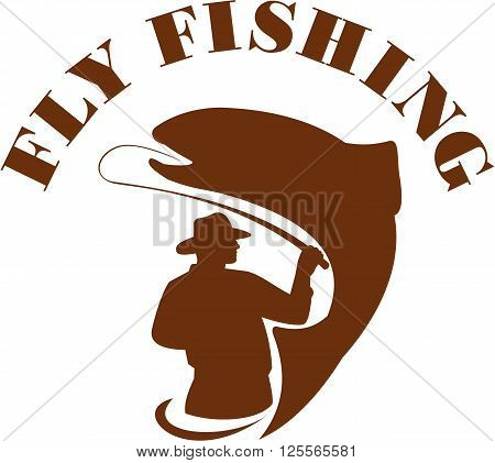Illustration of a fly fisherman fishing casting rod and reel reeling trout with the word FLY FISHING viewed from rear set on isolated white background done in retro style.