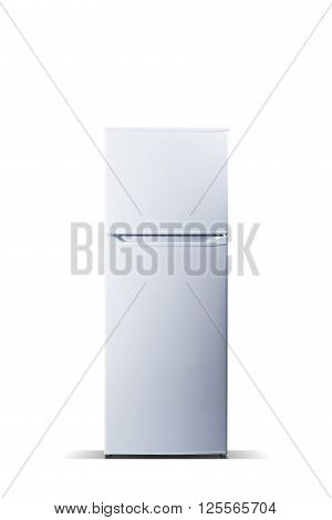 White refrigerator isolated on white, fridge freezer