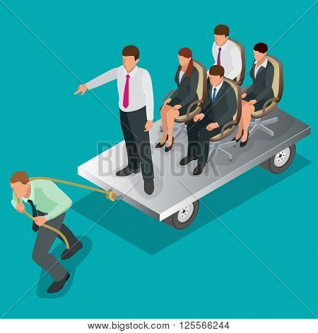 Team work. Business concept. Group of people, team pulling line, playing tug of war. Flat 3d isometric vector illustration