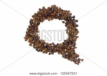 coffee bean rranging in talk concept on white