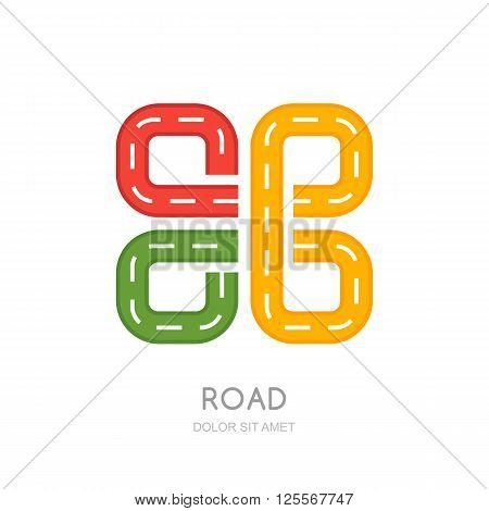 Vector Multicolor Road Logo, Icon Design.