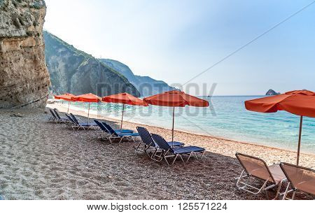 Paradise Beach, Corfu Island, Greece. Paradise Beach is one of the most beautiful beaches in Corfu Island. It is located near Liapades village at south of Paleokastritsa