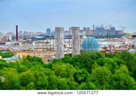 Birds eye view of Saint-Petersburg with the mosque which is situated in downtown St Petersburg. Architectural landscape with tilt shift effect.