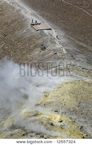 volcano activity, eolie, messina, sicily, italy