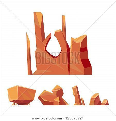Cartoon Weird Brown Rock Set Vector Isolated Landscape Elements For Video Game Design