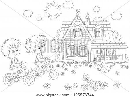 A black and white vector illustration of a little girl and a little boy riding bikes on a sunny summer day near a country house