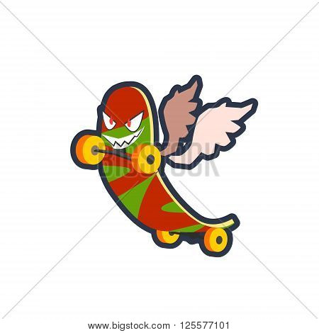 Winged Skatebord Cool Character Outlined Flat Vector Logo Colorful Design Isolated On White Background