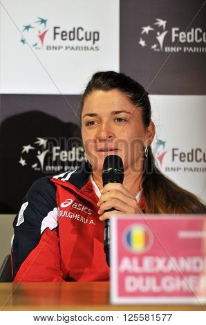 Romanian Tennis Player Alexandra Dulgheru During A Press Conference