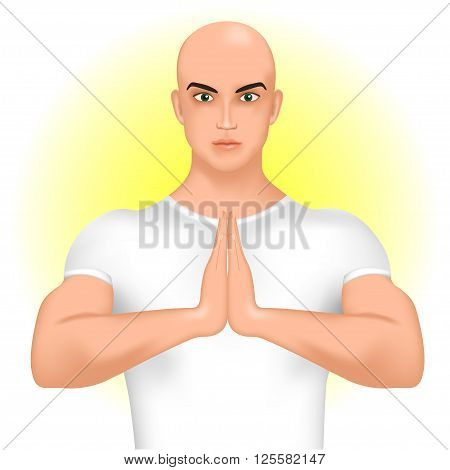 Teacher, coach yoga or pilates instructor or trainer greeting namaste. Vector illustration