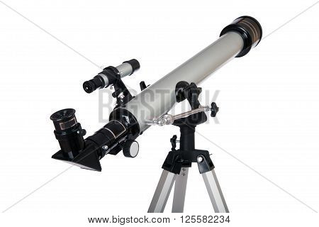 Modern telescope isolated on a white background. Telescope on tripod