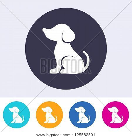 Vector simple dog icon on round colorful buttons