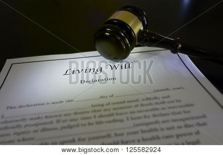 Living Will document and a court gavel
