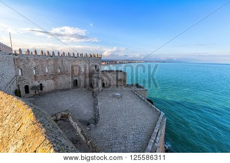 View On Peniscola  From The Top Of Pope Luna's  Castle , Valencia, Spain.
