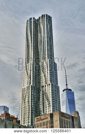 New York City, USA - December 28, 2015: The Beekman Tower also known as 8 Spruce Street or New York by Gehry - 14th-tallest building in NYC 27th-tallest residential building in the world; 33rd-tallest building in the United States.