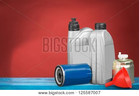 Oil lubricant Filter Oil Oil Change Bottle Funnel Isolated poster