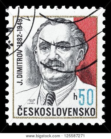 CZECHOSLOVAKIA - CIRCA 1982 : Cancelled postage stamp printed by Czechoslovakia, that shows George Dimitrov.