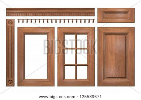Front collection of isolated wooden doors, drawer, column, cornice for kitchen cabinet