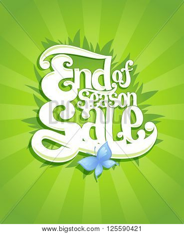 End season sale calligraphy vector design, suitable for spring and summer clearance coupon or banner, eco organic style