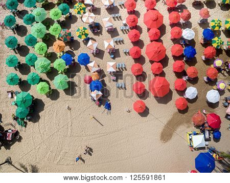 Top View of Umbrellas, Boa Viagem Beach, Recife, Brazil
