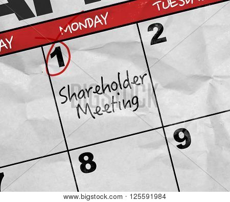 Concept image of a Calendar with the text: Shareholder Meeting