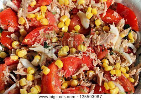 Tuna Salad - with vegetables: onion, tomato, corn