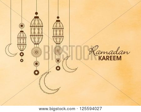 Traditional floral lanterns with crescent moons on beige background for Holy Month of Prayers, Ramadan Kareem celebration.