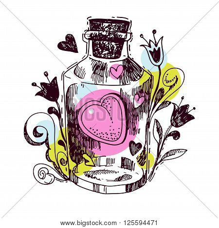 Romantic love potion. Heart of an elixir in the style hand drawn to print on t-shirt bag postcard