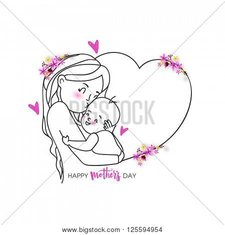 Creative illustration of a woman loving her cute child in flowers decorated heart shape for Happy Mother's Day celebration.