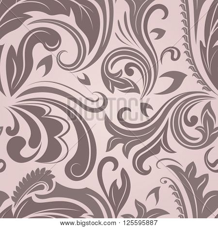 Seamless pinky brown floral pattern.