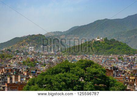Kathmandu city and Swayambunath as seen from Kathmandu Durbar Square in Nepal on 5 April 2015