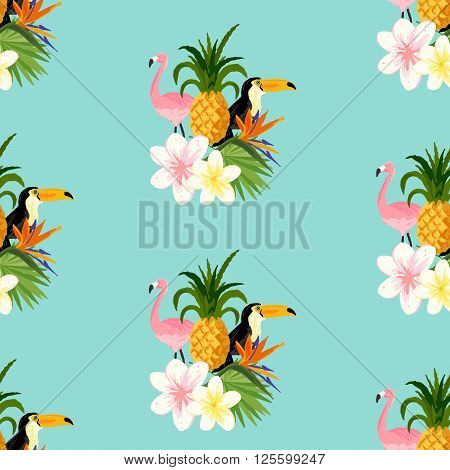 Seamless Tropical Theme background With a Toucan Flamingo and tropical floral flowers. Scaleable vector illustration.