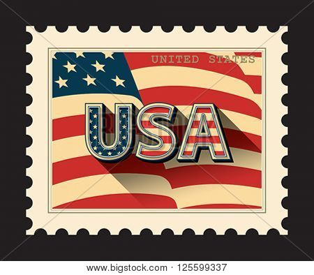 USA - postage stamp with American flag background. Isolated on black. Vector format EPS 8, CMYK.