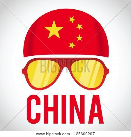 Head band and sunglasses with China insignia vector illustration
