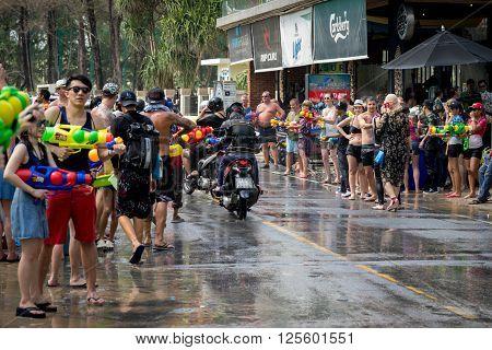 Phuket, Thailand - April 13, 2016: People Celebrating Songkran (thai New Year / Water Festival) In T
