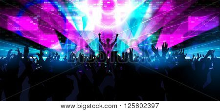Electronic dance music festival with dancing people. Creative illustration.
