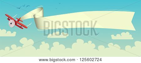Illustration of a flying airplane with a banner above the clouds