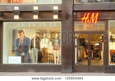 HELSINKI, FINLAND - April, 4, 2016: H&M shop in Helsinki, Finland. H&M is the Swedish retail network, largest in Europe clothes trade company