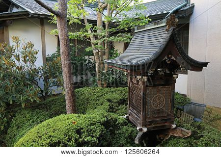 A Buddhist temple garden and ryokan, Japan