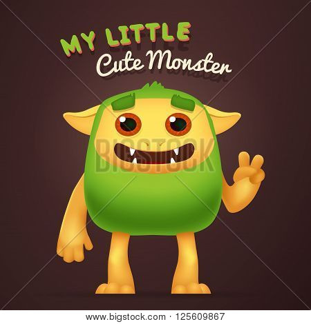 Cute Cartoon Green alien character with My little cute monster typography. Fun Fluffy incredible yeti creature isolated on brown background