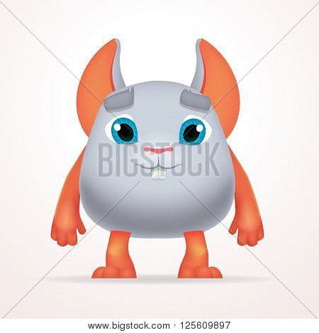 Cute gray mouse mutant. Fun Fluffy fat rabbit character isolated on light background. Silly cartoon monster for kids design