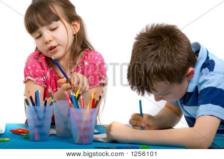 Brother And Sister Drawing Pictures