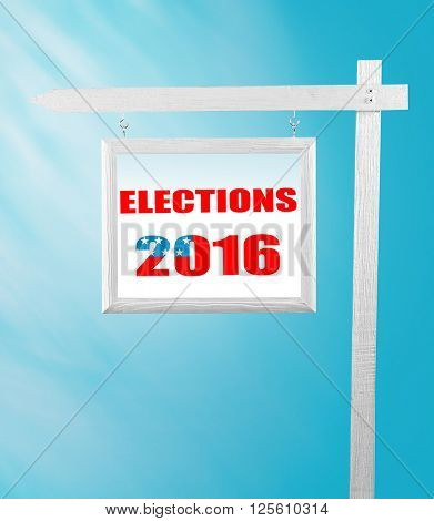 Text Election Day on pointer on blue background