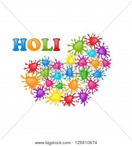 Illustration Colorful Paint Splatter in Form Heart for Indian Festival Holi Celebrations - Vector