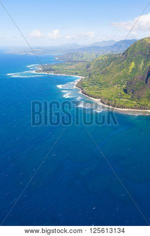 magnificent view at na pali coast at kauai island hawaii from helicopter